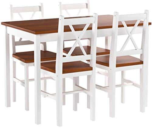 vidaXL Holztisch Esstisch Sitzgruppe Essgruppe Tischset Esszimmer Esstischset 4 Stühle