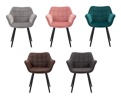 Duhome Esszimmerstuhl aus Stoff (Samt) Polsterstuhl Farbauswahl Retro Design Armlehnstuhl Polstersessel Stuhl mit Rückenlehne Sessel Metallbeine 8092C1