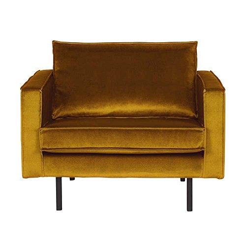 Pharao24 Retro Sessel in Gelb Samtbezug