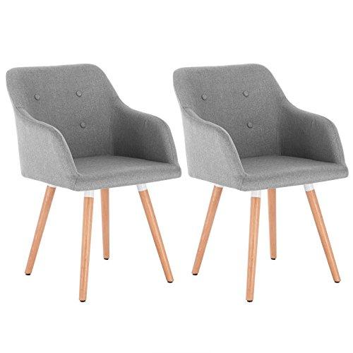 WOLTU 2 x Esszimmerstühle 2er Set Esszimmerstuhl Küchenstuhl Polsterstuhl Design Stuhl mit Armlehne, mit Sitzfläche aus Leinen, Gestell aus Massivholz, 1014