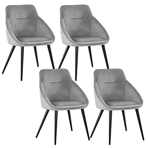 WOLTU 4 x Esszimmerstühle 4er Set Esszimmerstuhl Küchenstuhl Polsterstuhl Design Stuhl mit Armlehne, mit Sitzfläche aus Samt, Gestell aus Metall, BH177-4