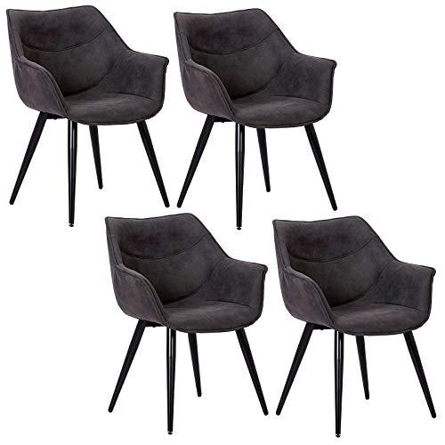 WOLTU 4 x Esszimmerstühle 4er Set Esszimmerstuhl Küchenstuhl Polsterstuhl Design Stuhl mit Armlehne, mit Sitzfläche aus Stoffbezug, Gestell aus Metall, Antiklederoptik, BH99-4