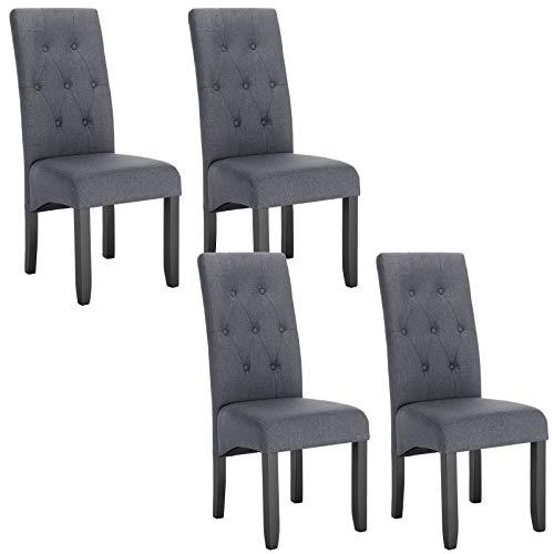 WOLTU 4X Esszimmerstühle Küchenstuhl Polsterstuhl Wohnzimmerstuhl Essgruppe, Leinen, Massivholz, BH106-4