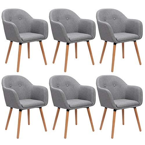 WOLTU 6 x Esszimmerstühle 4er Set Esszimmerstuhl Küchenstuhl Polsterstuhl Design Stuhl mit Armlehne, mit Sitzfläche aus Leinen, Gestell aus Massivholz, Hellgrau BH94hgr-6