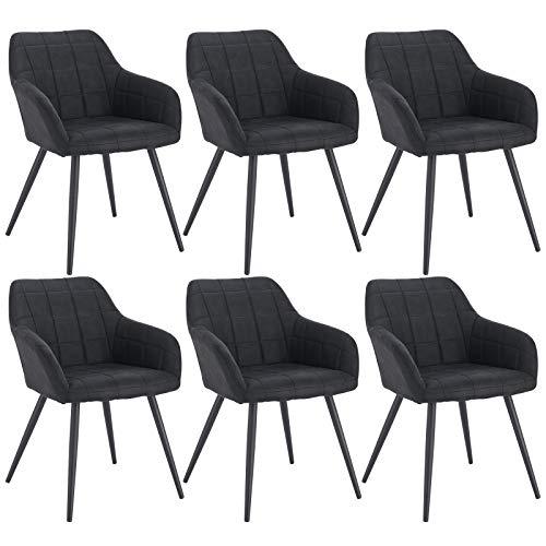 WOLTU 6 x Esszimmerstühle 6er Set Esszimmerstuhl Küchenstuhl Polsterstuhl Design Stuhl mit Armlehne, Gestell aus Metall, BH93-6
