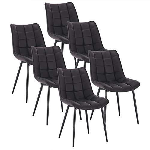 WOLTU 6 x Esszimmerstühle 6er Set Esszimmerstuhl Küchenstuhl Polsterstuhl Design Stuhl mit Rückenlehne, Gestell aus Metall, BH142-6