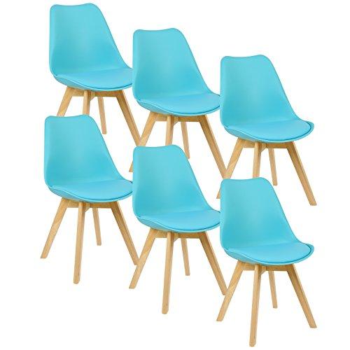 WOLTU® 6er Set Esszimmerstühle Küchenstuhl Design Stuhl Esszimmerstuhl Kunstleder Holz BH29-6
