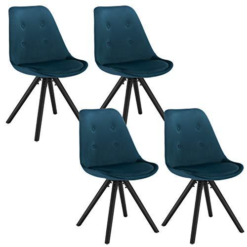 WOLTU® BH54-4 4 x Esszimmerstühle 4er Set Esszimmerstuhl, Sitzfläche aus Leinen/Samt, Design Stuhl, Küchenstuhl, Holzgestell