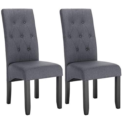WOLTU® Esszimmerstühle #1197 2er Set Küchenstuhl Lehnstuhl Polsterstuhl mit hoher Rückenlehne, Beine aus Massivholz, gepolsterte Sitzfläche aus Leinen
