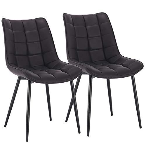 WOLTU® Esszimmerstühle #1334 2er Set Küchenstuhl Polsterstuhl Wohnzimmerstuhl Sessel mit Rückenlehne, Sitzfläche aus Samt, Metallbeine