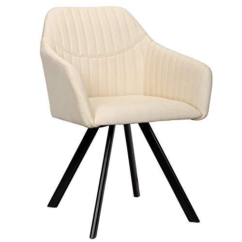 WOLTU Esszimmerstühle #1392 1x Küchenstuhl Wohnzimmerstuhl Polsterstuhl mit Armlehen Design Stuhl Leinen/Samt Metall