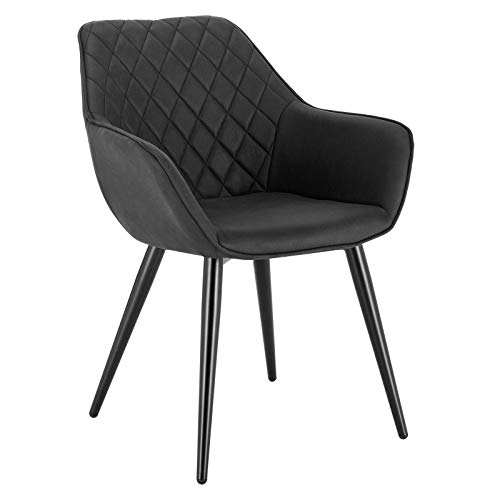 WOLTU Esszimmerstühle #1393 1x Küchenstuhl Wohnzimmerstuhl Polsterstuhl mit Armlehen Design Stuhl Leinen/Samt Metall