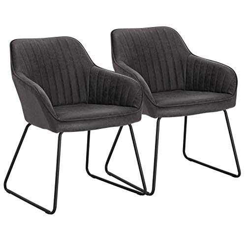 WOLTU Esszimmerstühle BH140gr-2 2er Set Küchenstuhl Polsterstuhl Wohnzimmerstuhl Sessel mit Armlehne, Sitzfläche aus Kunstleder, Metallbeine, Antiklederoptik, Grau