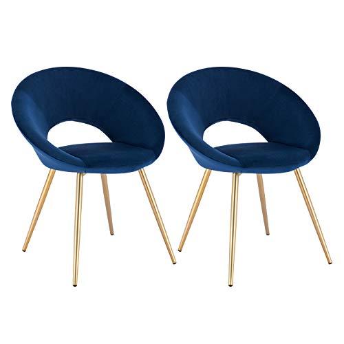 WOLTU® Esszimmerstühle BH230-2 2er Set Küchenstuhl Polsterstuhl Wohnzimmerstuhl Sessel, Sitzfläche aus Samt, Metallbeine