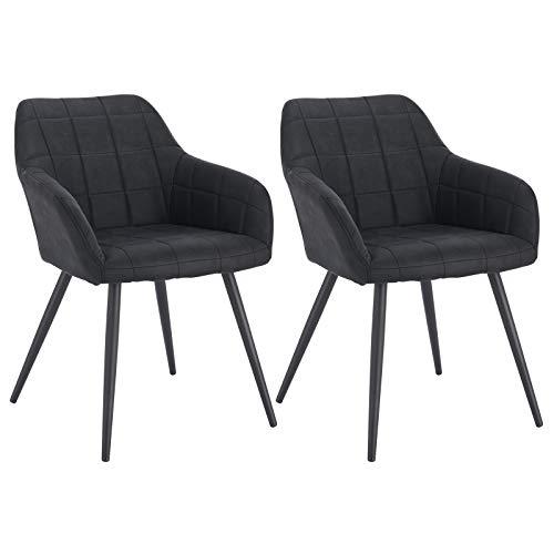 WOLTU® Esszimmerstühle BH93-2 2er Set Küchenstuhl Polsterstuhl Wohnzimmerstuhl Sessel mit Armlehne, Metallbeine