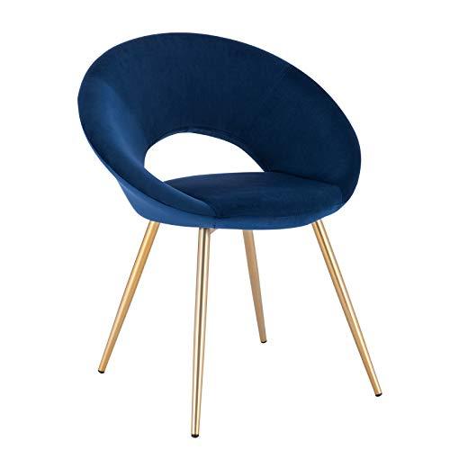 WOLTU® Esszimmerstuhl #1635 1 Stück Küchenstuhl Polsterstuhl Wohnzimmerstuhl Sessel, Sitzfläche aus Samt, Metallbeine