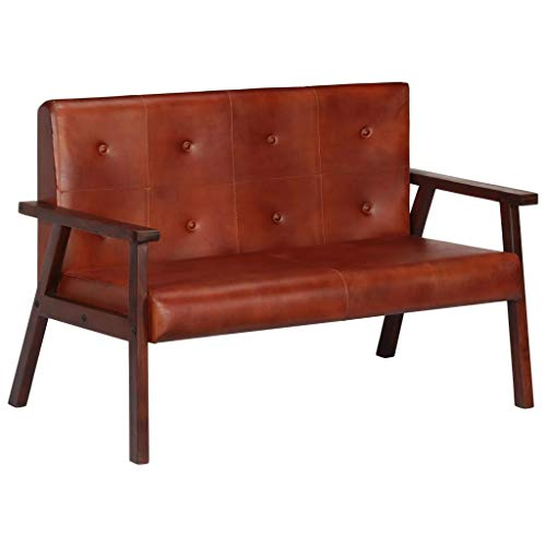 vidaXL Akazienholz Massiv Sofa 2-Sitzer Design Polstersofa Loungesofa Ledersofa Designersofa Zweiersofa Sitzmöbel Wohnzimmer Braun Echtleder