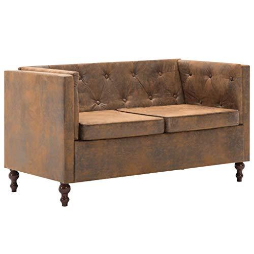 vidaXL Chesterfield Sofa 2-Sitzer Stoff Braun Loungesofa Polstersofa Sitzmöbel