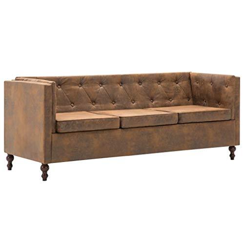 vidaXL Chesterfield Sofa 3-Sitzer Stoff Braun Loungesofa Polstersofa Couch
