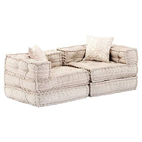 vidaXL Schlafsofa 2-Sitzer Modular Sofa mit Schlaffunktion Gästebett Bettsofa Sofabett Schlafcouch Loungesofa Polstersofa Chaiselongue Beige Stoff