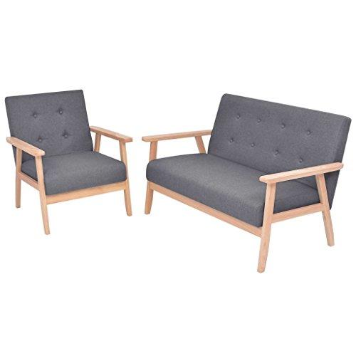 vidaXL Sofaset 2-TLG. Stoff Dunkelgrau Sofa Sofagarnitur Couch Polstersofa