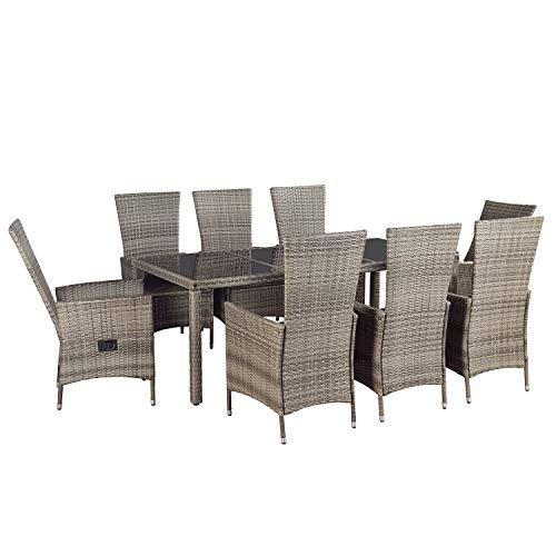 ArtLife Polyrattan Essgruppe Rimini Plus grau-meliert   dunkelgraue Bezüge   Gartenmöbel-Set mit Tisch & 8 Stühlen   Sitzgruppe Rattanmöbel