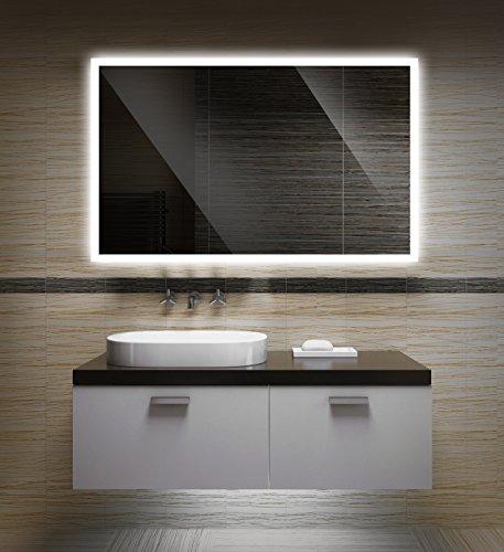 Badezimmerspiegel mit Beleuchtung LED Spiegel - Badspiegel mit Licht - Design Spiegel für Bad und Gäste WC hinterleuchtet - beleuchteter Wandspiegel Rahmenlos - OW-LED