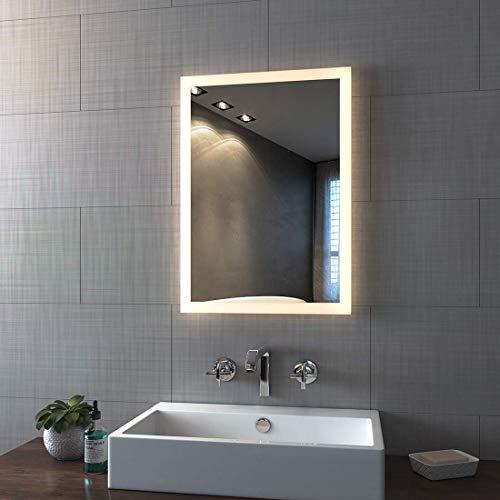 Bath-mann LED Wandspiegel Bad Badezimmerspiegel Lichtspiegel Wandspiegel mit Touch Schalter, IP44 Energiesparend - Kaltweißen