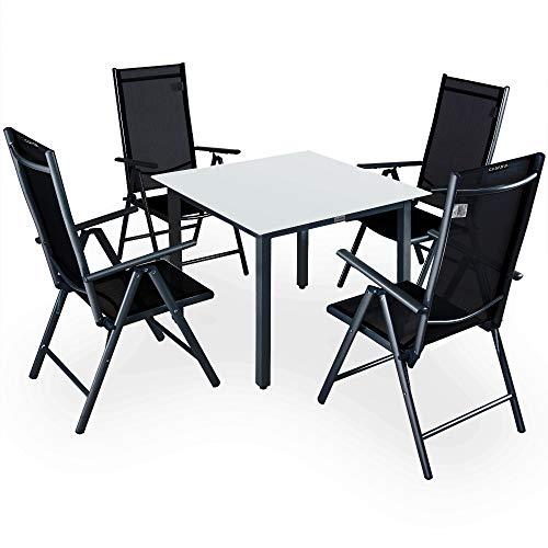 Casaria Sitzgruppe Bern 8+1 mit Milchglas Tisch - Silber/Anthrazit