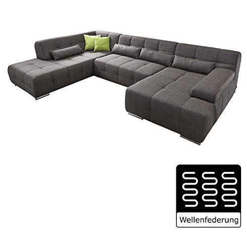 Cavadore Wohnlandschaft Boogies / Sofa U-Form mit moderner Steppung in Sitz und Rückenlehne / Rückenecht / Inklusive Kissen / Größe: 344x76x231 (BxHxT) / Bezug in Strukturstoff schwarz/braun