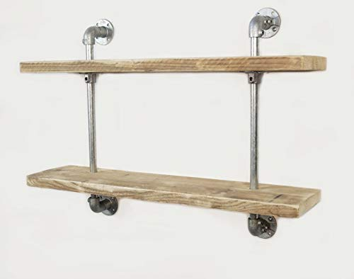 Cosywood Wandregal Industrie Stil Massiv Küche Loft Bücher Büro Gastronomie Regal Upcycling Neu hergestellt aus gebrauchtem Gerüstholz und Rohre