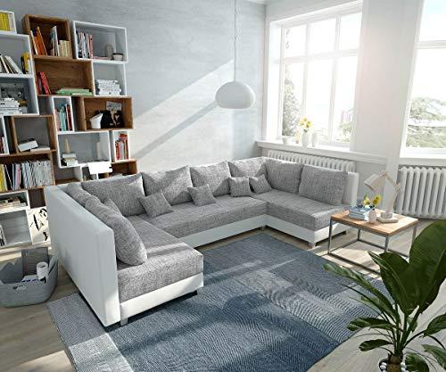 DELIFE Couch Panama Hellgrau Weiss Wohnlandschaft modular