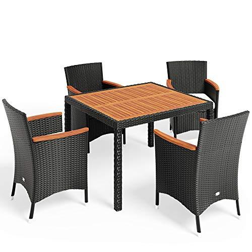 Deuba Polyrattan Sitzgruppe Tischplatte + Armlehne Akazie inkl. Auflagen - 4+1/6+1/8+1