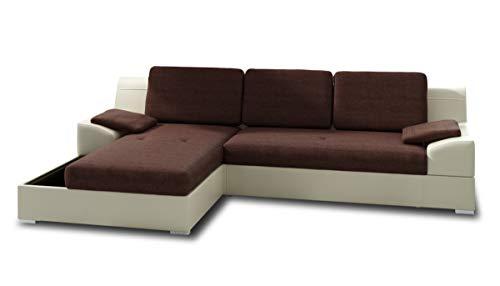 Ecksofa Aldo mit Glasregal, Couchgarnitur mit Bettfunktion und Bettkasten, Sofagarnitur, Couch mit Schlaffunktion, Big Sofa