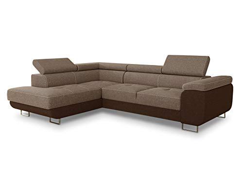 Ecksofa Caris mit Schlaffunktion und einstellbare Kopfstützen, Wohnlandschaft, Couchgarnitur, Bettkasten, Sofagarnitur, Couch, Sofa