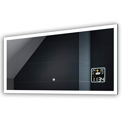 FORAM Anpassen Design Badspiegel mit LED Beleuchtung - Individuell Nach Maß mit Schalter zu Wählen und Zubehör - Beleuchtet Wandspiegel Lichtspiegel Badezimmerspiegel A++ Kaltweiß Warmweiß Modell L01