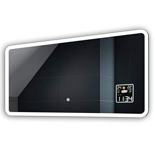 FORAM Anpassen Design Badspiegel mit LED Beleuchtung - Individuell Nach Maß mit Schalter zu Wählen und Zubehör - Beleuchtet Wandspiegel Lichtspiegel Badezimmerspiegel A++ Kaltweiß Warmweiß Modell L59