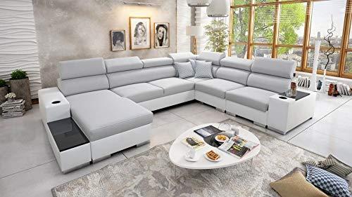 Großes Ecksofa Wohnlandschaft Piano Abstellfläche Polstersofa Couch XXL Sofa mit Schlaffunktion und Bettkasten mit Brett 26