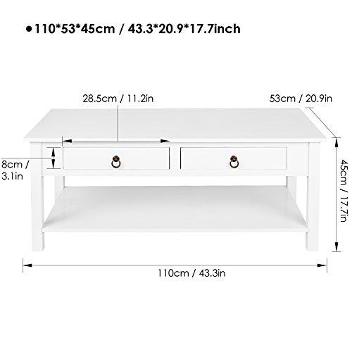 Homfa Couchtisch Wohnzimmertisch 110x53x45cm Beistelltisch mit schublade Sofatisch Kaffeetisch Holz Weiß
