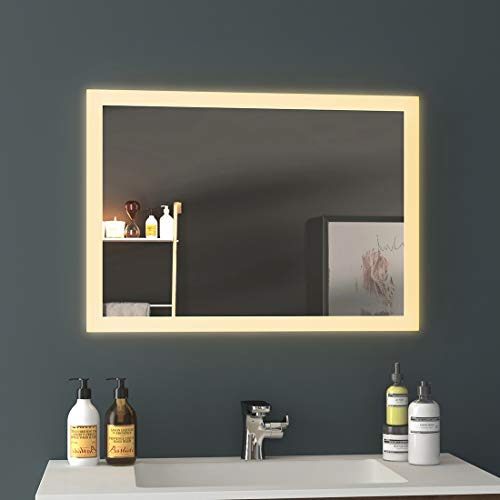 LED Badspiegel Badezimmerspiegel mit Beleuchtung Warmweissen Lichtspiegel Wandspiegel