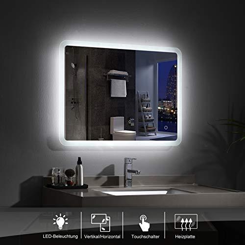 LISA 80 x 60 cm LED Badspiegel mit Beleuchtung Rechteckig Mattiert Rahmen Modern Badezimmer Wandspiegel Antibeschlage Lichtspiegel mit Touchschalter IP44