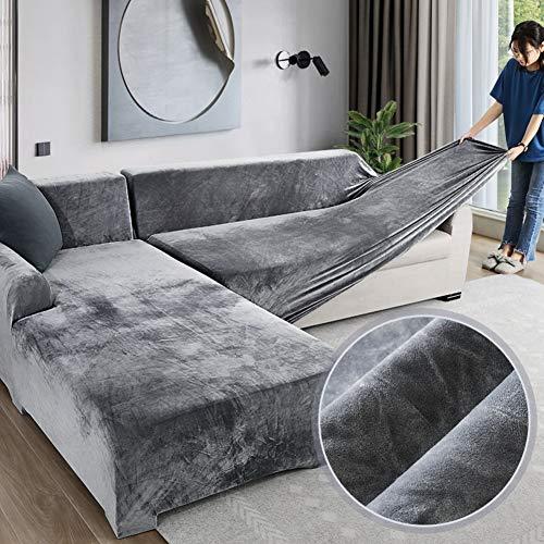 Love House Velvet Plüsch Schonbezug Sofa, Stretch Sofa Überwurf Sofabezug Weich Dick Sofahusse Für L-Form Schnittcouch,1 2 3 4 Sitzer