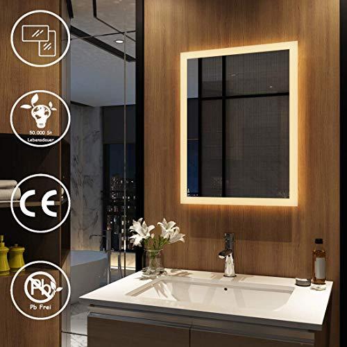 Meykoers Wandspiegel Badezimmerspiegel LED Badspiegel mit Beleuchtung, Spiegelschrank Wandschrank mit Multifunktionen 3000-6400K