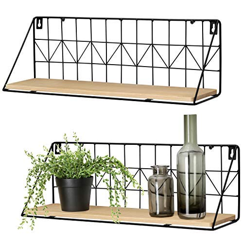 Mkouo Wall Mounted Floating Shelves Set of 2 Rustic Metal Wire Storage Shelves