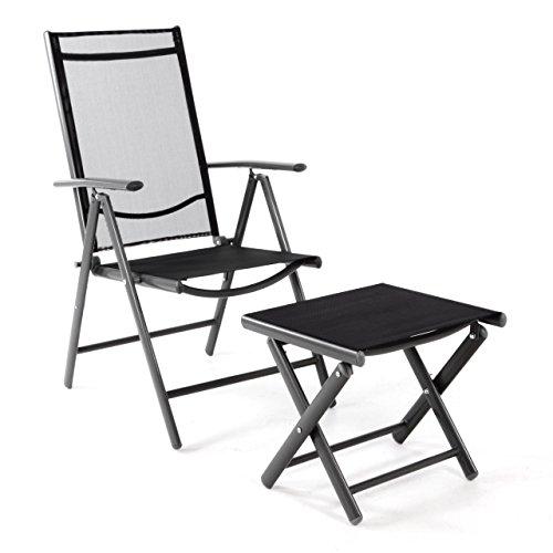 Nexos Klappstuhl Gartenstuhl Campingstuhl Liegestuhl mit Hocker - Rahmen anthrazit - Sitzmöbel Garten Terrasse Balkon - klappbarer Stuhl aus Aluminium & Kunststoff - schwarz