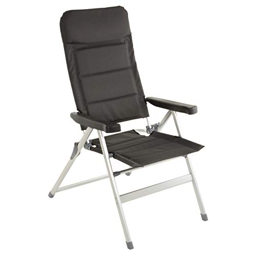 Nexos Premium Klappstuhl Relax-Stuhl Campingstuhl Klappsessel - für Garten Terrasse Balkon Veranda - klappbarer Gartenstuhl gepolstert Alu - schwarz grau