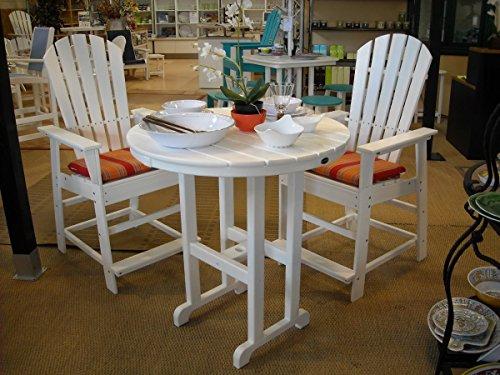 Polywood CASA Bruno Counterhöhe-Essgruppe South Beach (2 Armlehn-Stühle, 2 Sitzkissen + Tisch 90 cm rund) aus recyceltem HDPE Kunststoff, Weiss - kompromisslos wetterfest