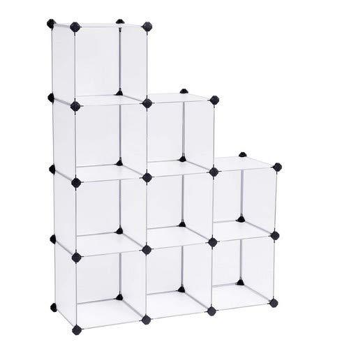 SONGMICS Regalsystem Cube Aufbewahrung Badregale Schuhregal Sideboard Kommode Kleiderschrank Aufbewahrungsbox Weiß 93 x 31 x 123 cm LPC115S