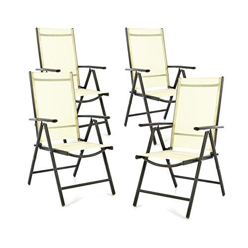 SONLEX 4er Set Klappstuhl Klappsessel Gartenstuhl Campingstuhl Liegestuhl - Sitzmöbel - klappbarer Stuhl aus Aluminium & Kunststoff - Creme (Textilene) / anthrazit (Rahmen)