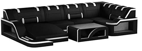 Sofa Dreams Leder Wohnlandschaft Palermo U Form schwarz-Weiss
